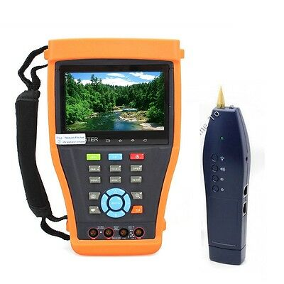 "IPC-4300M 4.3""Touch Screen IP Analog Cam POE CCTV Tester Multimeter+Cable Finder"