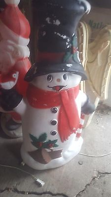 """BLOWMOLD OUTDOOR LIGHTED SNOWMAN with TOPHAT AND BIRDS VINTAGE *** HTF 40"""""""