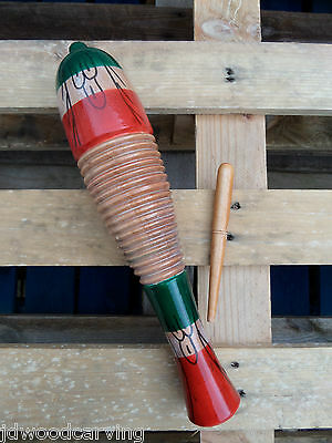 Hand Made Carved Wooden Mexicana Guiro Hand Percussion Musical Instrument