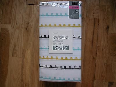 NEXT COTTON RICH GEO TEAL RETRO STRIPE DOUBLE DEEP FITTED SHEET & PC Goes Bedset