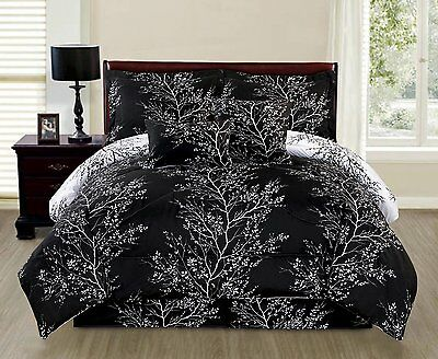 Natural Black Branches 6 piece Reversible Printed Soft Comforter Set