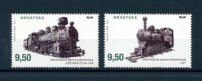 Croatia 2016 MNH Narrow Gauge Steam Locomotives 2v Set Trains Railways Stamps