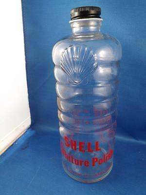 Shell Oil Company Canada Furniture Polish Glass Bottle Embossed Logo Gas Station