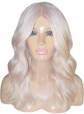 """Remy Human Hair Wig Glueless Front Lace 18"""" Long White Platinum Blonde Silk Top"""