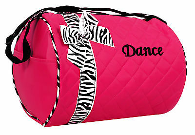 Dance Bag Girls  - Hot Pink Quilted Zebra Duffle New