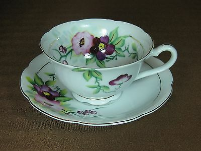 Chugai China Occupied Japan Cup & Saucer Hand Painted Flowers Berries Gold Trim
