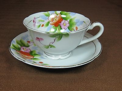 Chugai China Occupied Japan Cup & Saucer Hand Painted Flowers Leaves Gold Trim