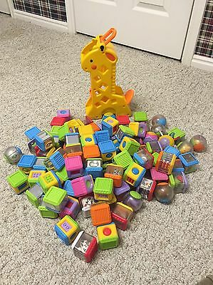 97 Fisher Price Peek-A-Blocks Giraffe Roll-A-Rounds Lot