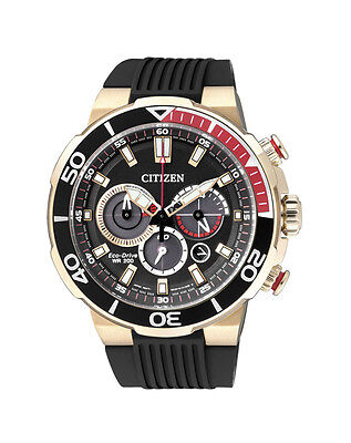 NEW Citizen Mens Gold Stainless Steel Eco-Drive Chronograph Watch - CA4252-08E