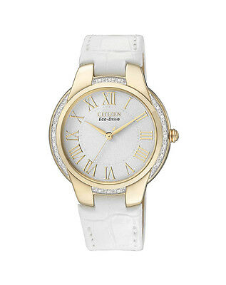 NEW Citizen Ladies Gold Stainless Steel Eco-Drive Diamond Watch - EM0092-01A