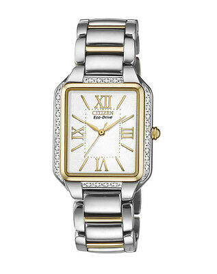 NEW Citizen Ladies Two Tone Stainless Steel Eco-Drive Diamond Watch - EM0194-51A