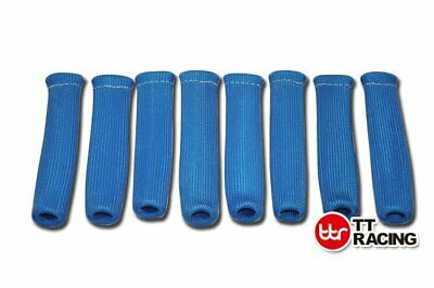 "8x 6"" HIGH HEAT SHIELD BLUE ENGINE SPARK PLUG WIRE BOOT PROTECTOR SLEEVE COVER"