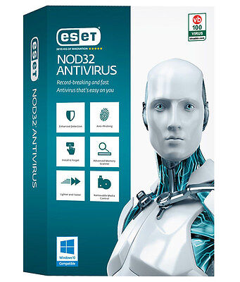 Eset NOD32 Antivirus 2017 (New version 10) 3 PC 1 year/an free updates