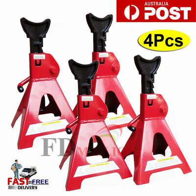 4PC 3 Ton 3T Car Truck Jack Stand Ratchet Adjustable Lift Hoist Heavy Duty Steel