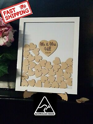 Personalised alternative Wooden Drop Top Wedding Guest Book Box Frame 50 Heart