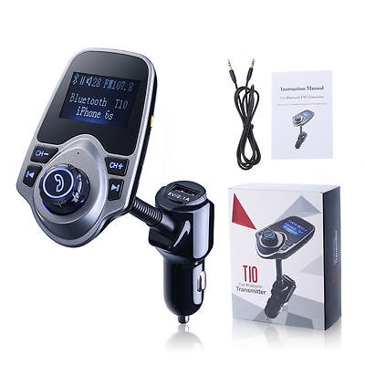 Bluetooth Wireless In-Car FM Transmitter with USB Charging For iPhone Samsung MO