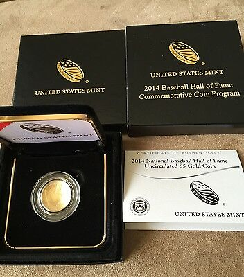 2014 W National Baseball Hall of Fame $5 Dollar US Mint Gold Proof Unc. Coin OGP