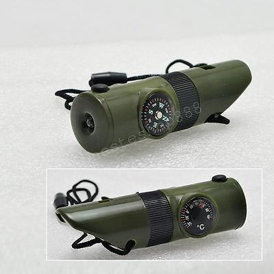 Whistle Compass Thermometer Magnifier Flash Light Storage Capsule Camping Useful