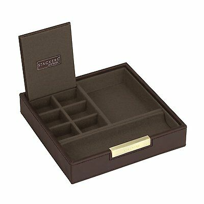 Stackers Jewellery Men's Casual Brown Square Valet with Khaki Canvas Lining