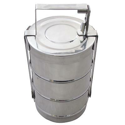Tri-Star Stainless Steel Tiffin 3 Section 13cm with Plate Indian Lunch Box Curry