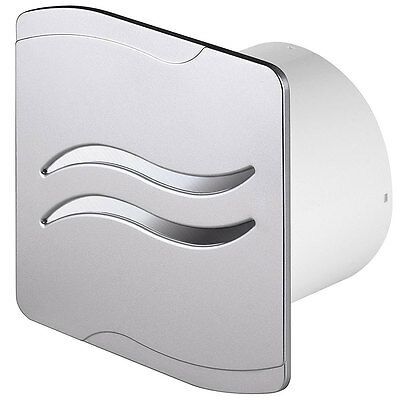 """Satin Bathroom Extractor Fan 100mm / 4"""" with Humidity Sensor & Timer SS100H"""
