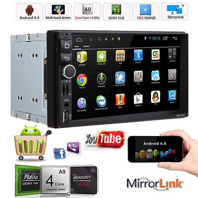 """Android 4.4 Double 2Din HD 7"""" Car GPS Navi MP5 MP3 Radio Stereo Player Bluetooth"""