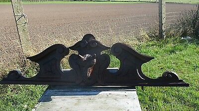 Antique Carved Wood Fox Head  Pediment Ornate Overdoor Architectural Beautiful
