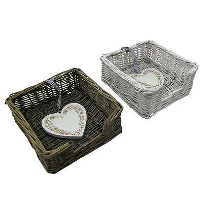 Willow Wicker Napkin Holder With Love Heart String 2 Colours