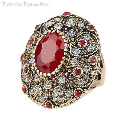 Vintage ancient patterned rustic gold plated style women's oval ruby gift ring!