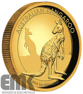 Australien - 100 Dollar 2016 - Känguru - 1 Oz. Gold High Relief in PP
