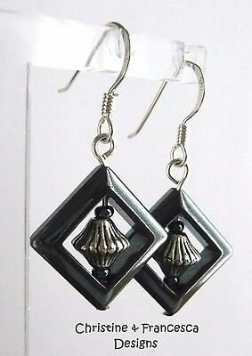 Sterling Silver Art Deco Style HEMATITE Black Grey Gemstone Drop Hook Earrings