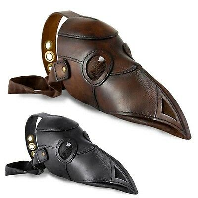 Quality Leather Plague Doctor Mask. Costume Re-enactment Or LARP Black Or Brown