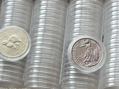 100 x Plastic Round Coin Boxes Capsules Cases Size 39 mm (CROWN,£5 ,1oz Silver )