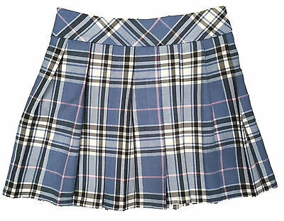 Girls Check Skirt Ex Marks Spencer Blue Fully Lined Adjustable Waist 7-14Y New