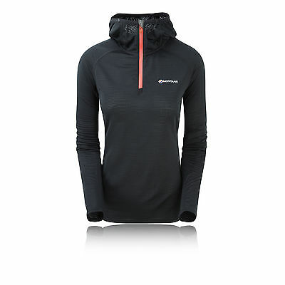 Montane Allez Womens Black Breathable Micro Hooded Top Sweatshirt Hoodie