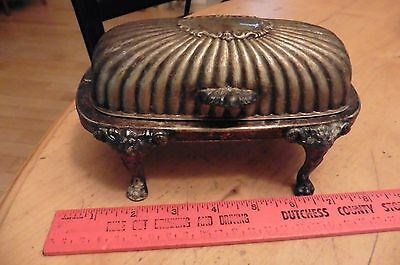 Vintage FB Rogers Silver Co. Silverplated Copper Lion Footed Rolltop Butter Dish