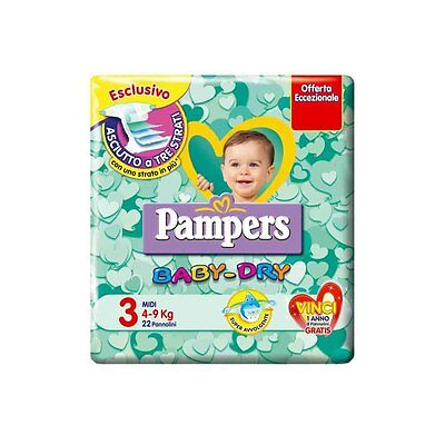 Pampers Baby Dry MISURA 3 (4-9 kg) 6 pacchi 120 pannolini
