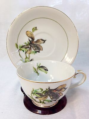 MINT Vintage Harmony House Fine China Alyce Teacup & Saucer Gold Trim JAPAN