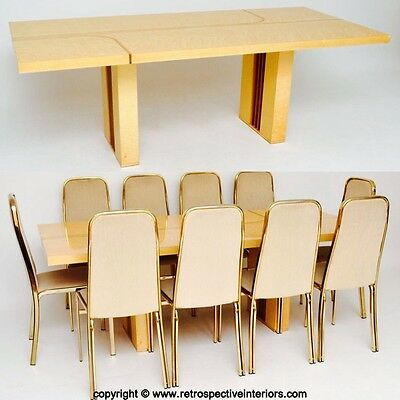 ITALIAN RETRO MAPLE & BRASS DINING TABLE & CHAIRS BY ZEVI VINTAGE 1970's
