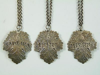 VINTAGE - Sterling Silver - Set of 3 JOSEPH WILLMORE William IV Decanter Labels