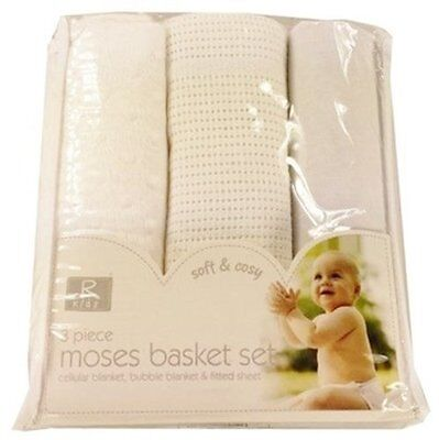 Newborn baby 3pc Moses basket set bedding Cellular, Bubble blanket Fitted Sheet