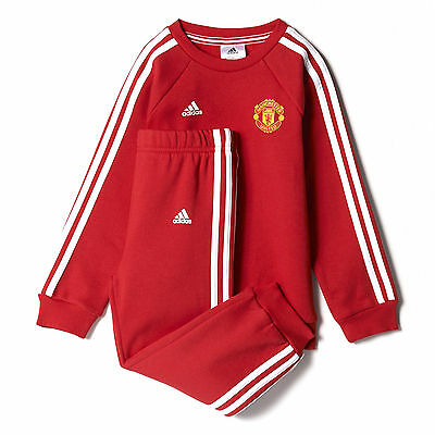 adidas Manchester United 3 Stripe Jogger Infant Baby Toddler Tracksuit Red