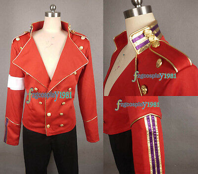 MJ  MICHAEL JACKSON MJ Red Military England Style Informal Jacket+trousers