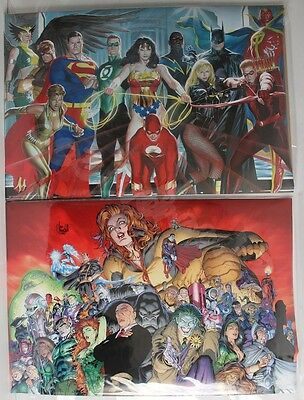 Dc 2008 Justice League Heroes & Villain's Signed Alex Ross Ian Churchill Poster