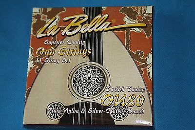 LaBella Superior Quality Silverplated Wound on Nylon Oud 11 String Set,MPN OU80