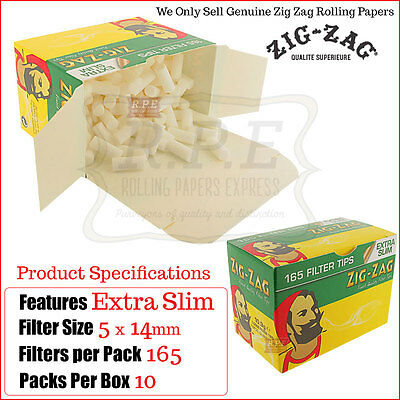 ZigZag Extra Slim Filter Tips 165 Tips Per Box - 10/20 & 40 Boxes x6600