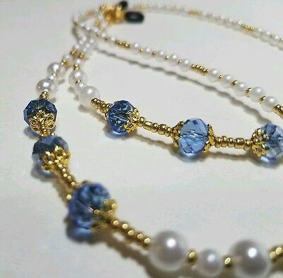 Eyeglass Reading Glasses Chain Necklace Classic Pearl Sky Blue Gold Beaded