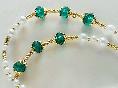 Beaded Eyeglass Reading Glasses Chain Lanyard Necklace Classic Pearl Green Gold
