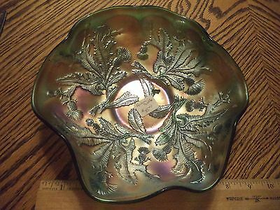 """EAPG Beautiful Fenton Green Carnival Glass Thistle Pattern 9"""" Ruffled Bowl AS IS"""