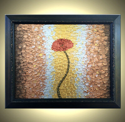 "Red Metallic ROSES Poppies Impasto Flowers Painting Textured Art, 16""x20"" Framed"